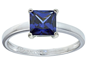 Bella Luce® 2.1ct Princess Cut Tanzanite Simulant Rhodium Over Silver Solitaire Ring