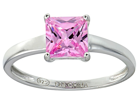 Bella Luce® 2.1ct Pink Diamond Simulant Rhodium Over Silver Solitaire Ring