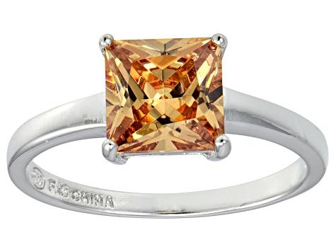 Bella Luce® 3 33ct Champagne Diamond Sim Rhodium Over Silver Solitaire Ring
