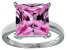 Bella Luce® 9.56ct Pink Diamond Simulant Rhodium Over Silver Solitaire Ring