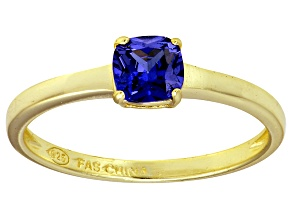Bella Luce® 1.05ct Cushion Tanzanite Sim 18k Gold Over Silver Solitaire Ring