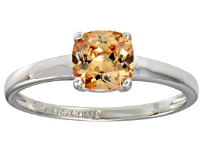 Champagne Cubic Zirconia Rhodium Over Sterling Silver Solitaire Ring 1.55ct
