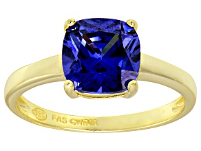 Bella Luce® 3.9ct Cushion Tanzanite Sim 18k Gold Over Silver Solitaire Ring