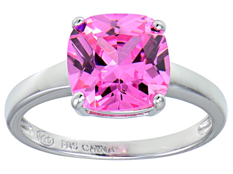 Bella Luce® 5.95ct Cushion Pink Diamond Sim Rhodium Over Silver Solitaire Ring