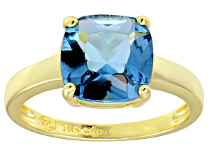 Bella Luce® 5.95ct Cushion Apatite Sim 18k Gold Over Silver Solitaire Ring