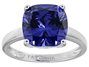 Bella Luce® 7.4ct Cushion Tanzanite Sim Rhodium Over Silver Solitaire Ring