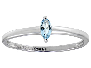 Blue Cubic Zirconia Rhodium Over Silver Solitaire Ring .24ct