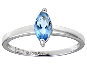 Bella Luce® 0.8ct Marquise Apatite Simulant Rhodium Over Silver Solitaire Ring