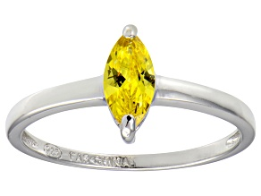 Bella Luce® 0.8ct Yellow Diamond Simulant Rhodium Over Silver Solitaire Ring