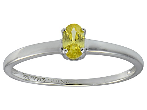 Bella Luce® .35ct Oval Yellow Diamond Simulant Over Silver Solitaire Ring
