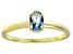 Bella Luce® .73ct Oval Apatite Simulant 18k Gold Over Silver Solitaire Ring