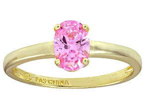 Bella Luce® 1.3ct Oval Pink Diamond Sim 18k Gold Over Silver Solitaire Ring