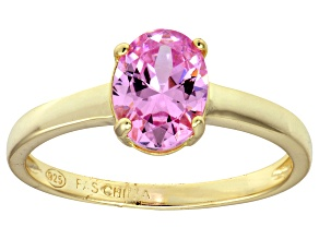 Bella Luce® 2.06ct Oval Pink Diamond Sim 18k Gold Over Silver Solitaire Ring