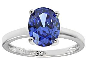 Bella Luce® 3.16ct Oval Tanzanite Simulant Rhodium Over Silver Solitaire Ring