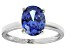 Bella Luce® 3.16ct Oval Tanzanite Simulant Rhodium Over Silver Solitaire Ring
