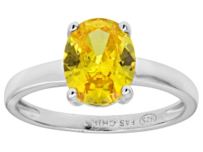 Bella Luce® 3.16ct Oval Yellow Diamond Sim Rhodium Over Silver Solitaire Ring