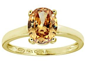 Bella Luce® 3.16ct Champagne Diamond Sim 18k Gold Over Silver Solitaire Ring