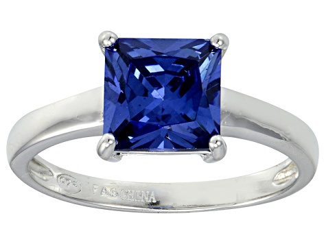 Bella Luce® 3.33ct Tanzanite Simulant Rhodium Over Silver Solitaire Ring