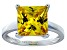 Bella Luce® 7.0ct Yellow Diamond Simulant Rhodium Over Silver Solitaire Ring
