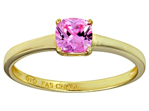 Bella Luce® 1.05ct Pink Diamond Simulant 18k Gold Over Silver Solitaire Ring