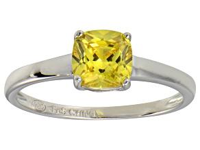 Bella Luce® 1.55ct Yellow Diamond Simulant Rhodium Over Silver Solitaire Ring