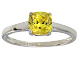 Bella Luce® 1.55ct Yellow Diamond Simulant Rhodium Over Silver Solitaire Ring