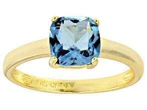 Bella Luce® 2.65ct Cushion Apatite Sim 18k Gold Over Silver Solitaire Ring