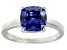 Bella Luce® 3.9ct Cushion Tanzanite Sim Rhodium Over Silver Solitaire Ring