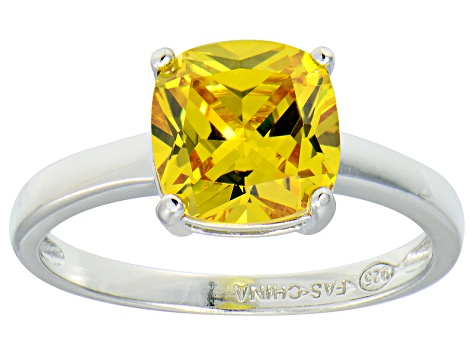 Bella Luce® 3.9ct Yellow Diamond Simulant Rhodium Over Silver Solitaire Ring