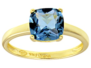 Bella Luce® 3.9ct Cushion Apatite Simulant 18k Gold Over Silver Solitaire Ring
