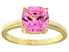 Bella Luce® 3.9ct Pink Diamond Simulant 18k Gold Over Silver Solitaire Ring