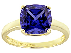 Bella Luce® 5.95ct Cushion Tanzanite Sim 18k Gold Over Silver Solitaire Ring