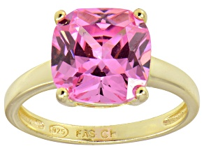 Bella Luce® 7.40ct Pink Diamond Simulant 18k Gold Over Silver Solitaire Ring