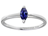Bella Luce® .41ct Marquise Tanzanite Sim Rhodium Over Silver Solitaire Ring