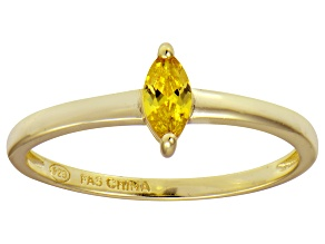 Bella Luce® .41ct Yellow Diamond Simulant 18k Gold Over Silver Solitaire Ring