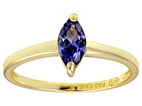 Bella Luce® 0.8ct Marquise Tanzanite Sim 18k Gold Over Silver Solitaire Ring