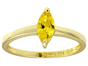 Bella Luce® 0.8ct Yellow Diamond Simulant 18k Gold Over Silver Solitaire Ring