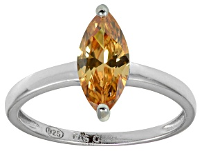Bella Luce® 1.62ct Champagne Diamond Sim Rhodium Over Silver Solitaire Ring