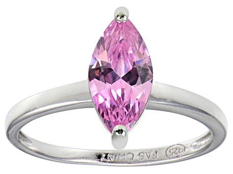 Bella Luce® 1.62ct Pink Diamond Simulant Rhodium Over Silver Solitaire Ring