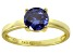 Bella Luce® 2.17ct Tanzanite Simulant 18k Gold Over Silver Solitaire Ring