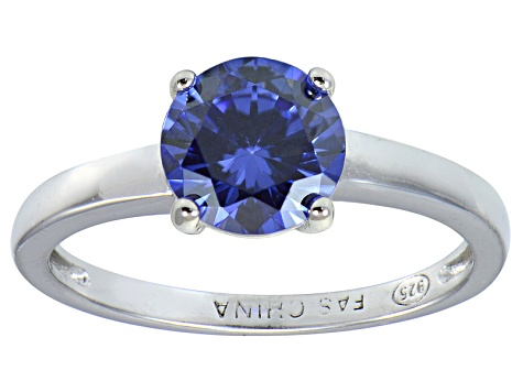 Bella Luce® 2.17ct Round Tanzanite Simulant Rhodium Over Silver Solitaire Ring
