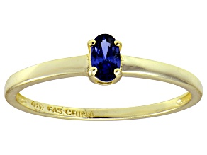Bella Luce® .35ct Oval Tanzanite Simulant 18k Gold Over Silver Solitaire Ring