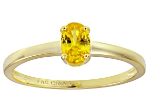 Bella Luce® .73ct Oval Yellow Diamond Sim 18k Gold Over Silver Solitaire Ring