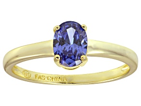 Bella Luce® 1.3ct Oval Tanzanite Simulant 18k Gold Over Silver Solitaire Ring