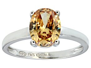 Bella Luce® 3.16ct Champagne Diamond Sim Rhodium Over Silver Solitaire Ring