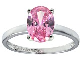 Bella Luce® 3.16ct Oval Pink Diamond Sim Rhodium Over Silver Solitaire Ring