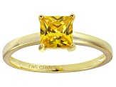 Bella Luce® 2.1ct Yellow Diamond Simulant 18k Gold Over Silver Solitaire Ring