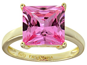 Bella Luce® 9.56ct Pink Diamond Simulant 18k Gold Over Silver Solitaire Ring