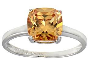 Bella Luce® 3.9ct Champagne Diamond Sim Rhodium Over Silver Solitaire Ring