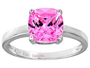 Bella Luce® 3.9ct Pink Diamond Simulant Rhodium Over Silver Solitaire Ring